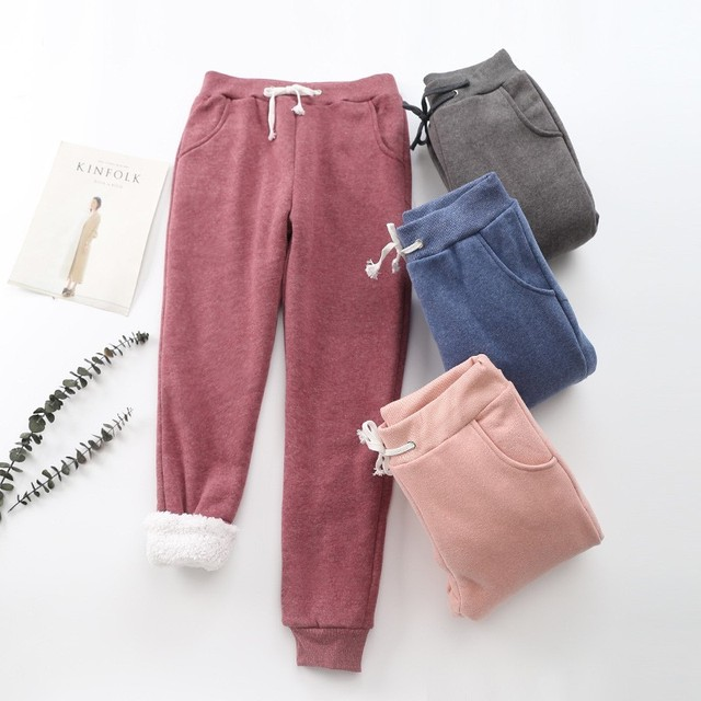 BEFORW 2019 Winter Women Pant Thick Lambskin Cashmere Pants Warm Female Casual Pants Loose Harlan Pants Long Trousers Plus Size 2