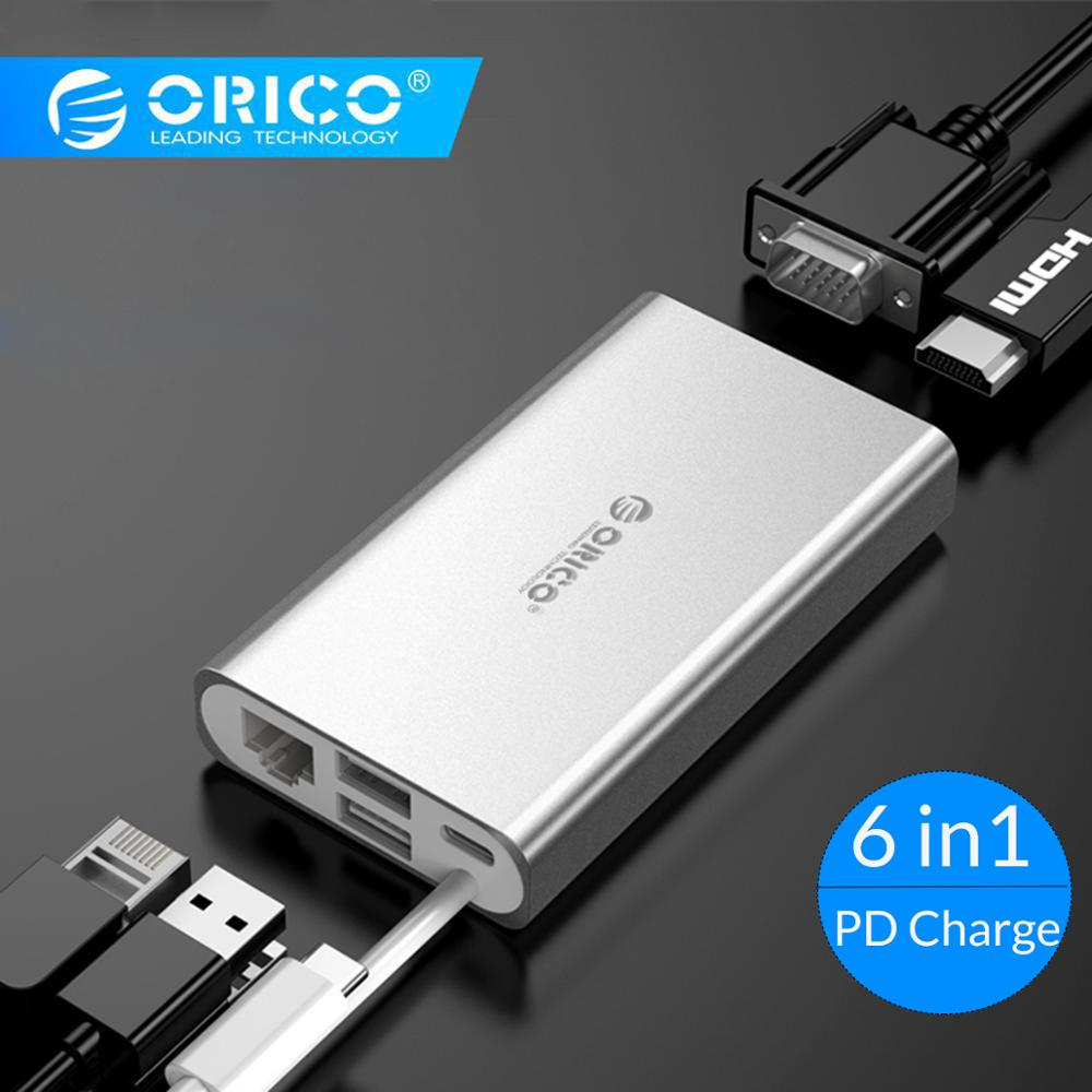 ORICO USB HUB Type C HUB To USB 3.0 Type-C HDMI PD Adapter For Macbox Docking Station 4K 5Gbps High Speed USB C HUB