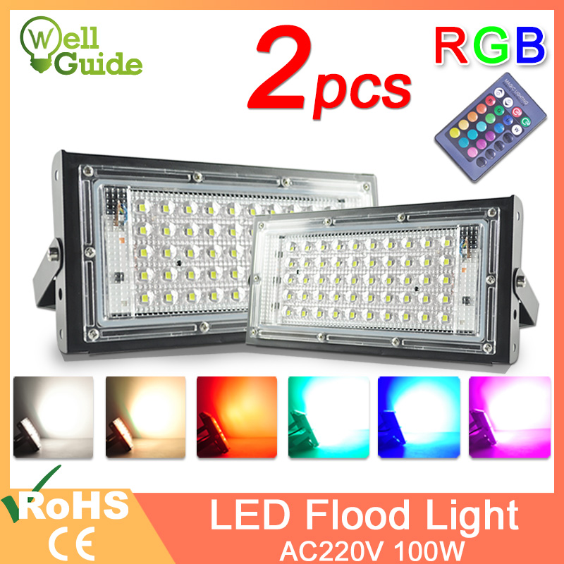 2pcs LED Flood Light 50W 100W RGB Floodlight Street IP65 Waterproof Outdoor Wall Reflector Lighting AC220V 240V Garden Spotlight