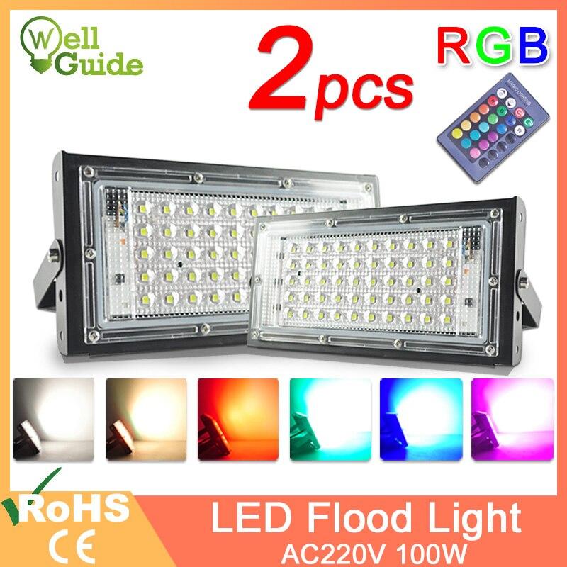2pcs LED Flood Light 50W 100W RGB Floodlight street IP65 Waterproof Outdoor Wall Reflector Lighting AC220V 240V Garden Spotlight