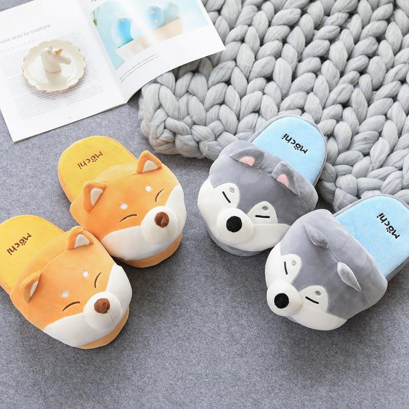 New Shiba Inu & Corgi Soft Stuffed Animals Man Woman Couple Winter Shoes Cotton Gifts Husky Dog Plush Toys Cute Christmas Gift