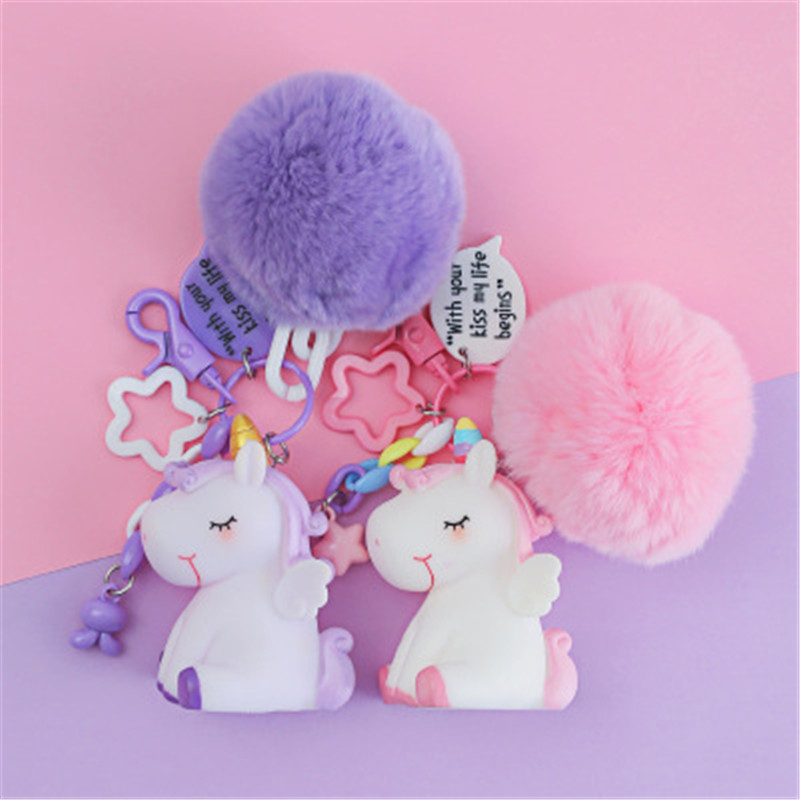 Girls Toys Unicorn Rabbit Faux Fur Plush Key Pendant Kawaii Cartoon Licorne Keychain Squeeze Pendant Toys Artificial Fur Ball