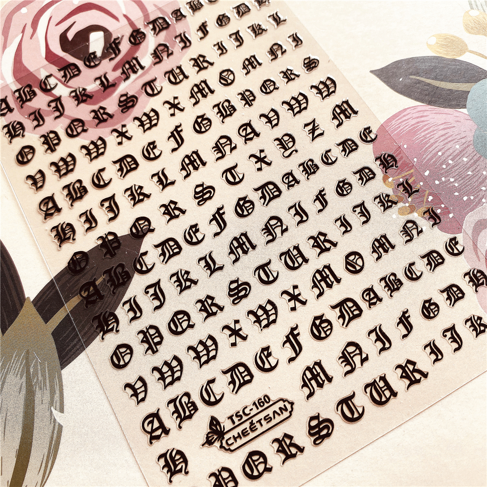 Newest TSC-160  Alphabet Nail Letter Stick 3d Nail Art Sticker Nail Decal Stamping Export Japan Designs Rhinestones  Decorations