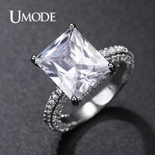 UMODE Jewelry 2019 New Fashion Big Luxury Geometric Zircon Eternity Rings for Women Paved Cusion CZ Wedding Ring Bands AUR0575A(China)