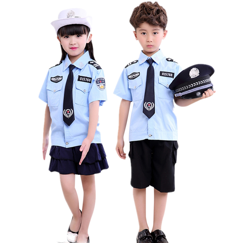 Tiny Cop Boy Girl Role Play Police Uniform Cap Carnival Disguise Military Clothing Halloween Costume For Kids Teenager Cosplay