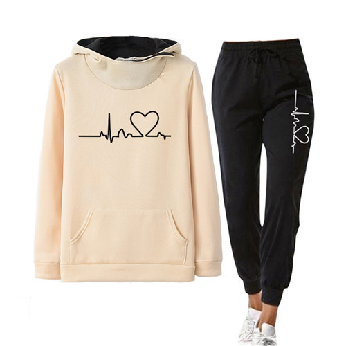Women Tracksuit Pullovers Hoodies and Black Pants Autumn Winter Suit Female Solid Color Casual Full Length Trousers Outfits 2021 10