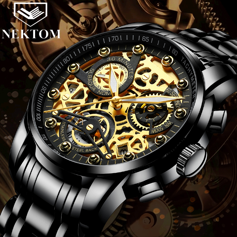 NEKTOM Wrist Watches Golden-Chronograph Top-Brand Luxury Big Masculino Men Man Relogio