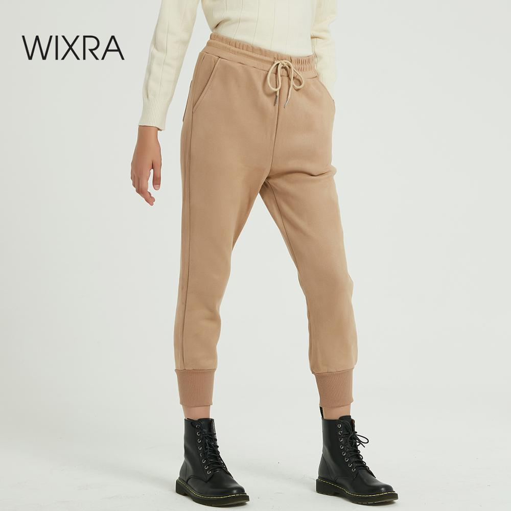 Wixra Women Casual Suede Pants High Waist Autumn Winter Lady's Thick Velvet Pants Women Ankle Length Lace-up Trousers