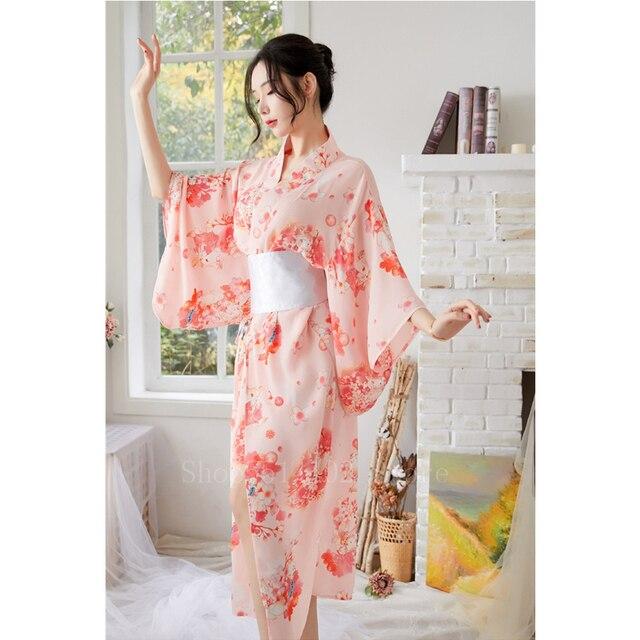 Giapponese Sakura Ragazza Kimono Dress Obi per Le Donne Kawaii Yukata Sexy Lungo Abito Floreale Chiffon Femminile di Stile Del Giappone Pigiama Partito