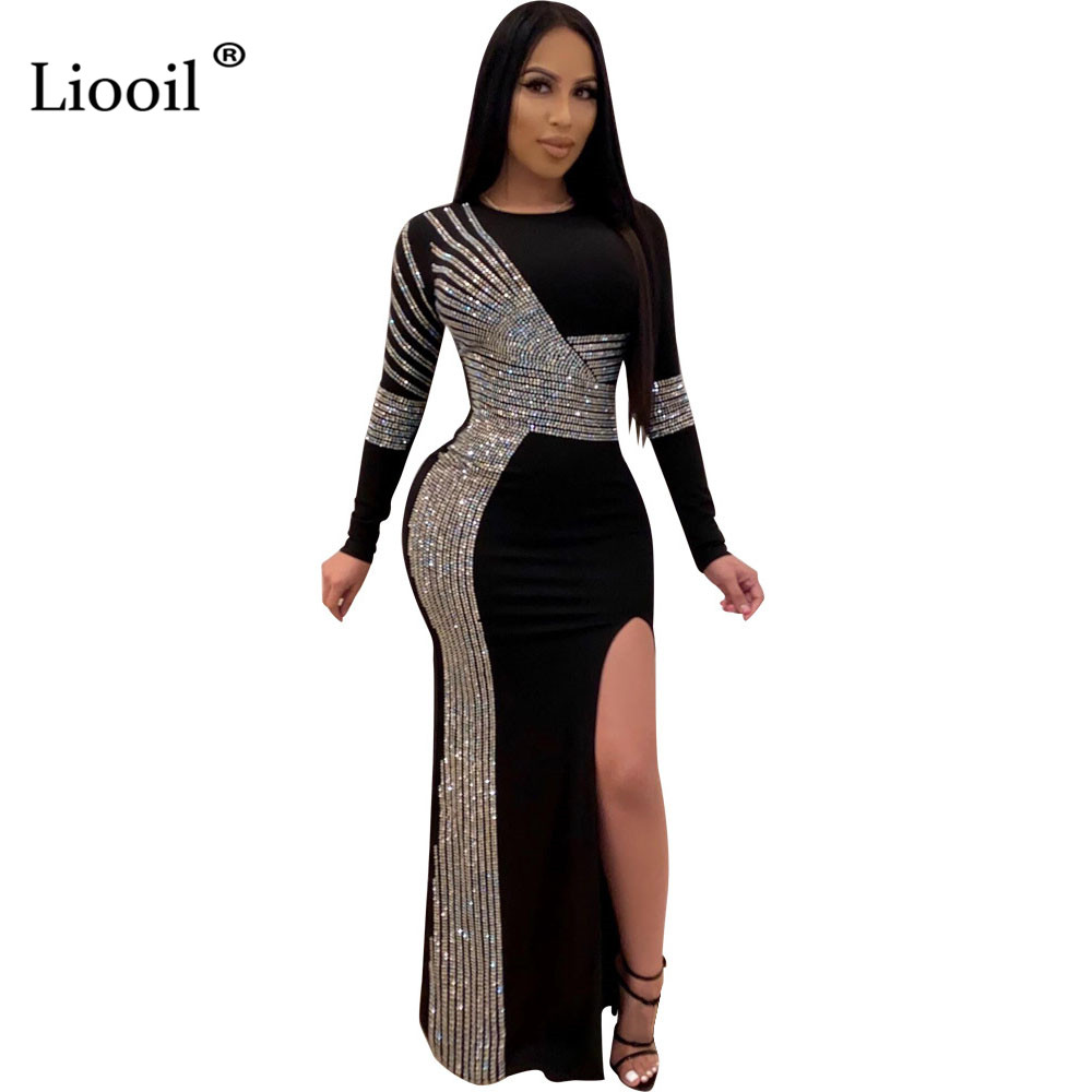 Liooil Black Rhinestone Sexy Slit Bodycon Long Maxi Dress Women 2020 Long Sleeve O Neck Night Club Evening Party Tight Dresses