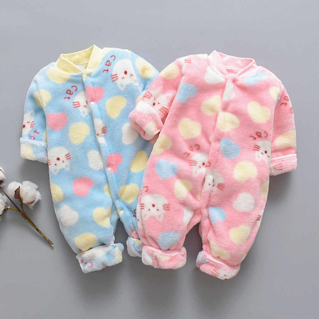 Cartoon Fleece Newborn Baby Romper Infant Warm Jumpsuit Soft Pajamas Long Sleeve Single Breasted Toddler Costume Baby Jumpsuit