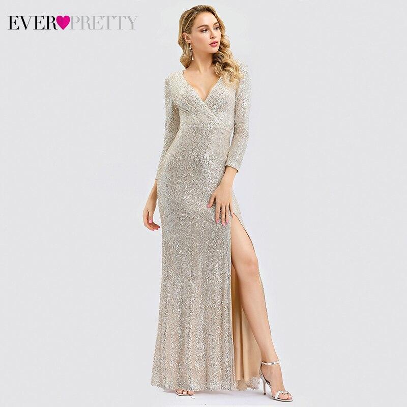 Luxury   Evening     Dresses   Long Ever Pretty Sequined V-Neck Full Sleeve Elegant   Evening   Gowns EP00824RG Vestido Noche Elegante 2019