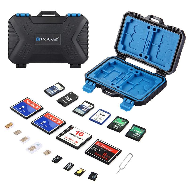 Black 27 Cards Room Waterproof CF/TF/SD/SIM Card Box Holder Memory Card Storage Case 11.5*7*2.05CM