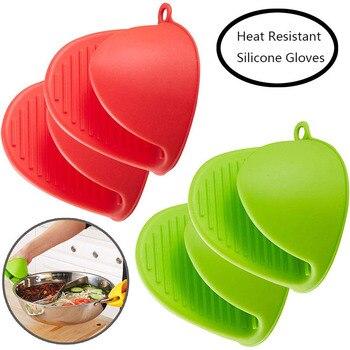 Mini guantes de cocina y horno de silicona resistentes al calor organizador de cocina guantes aislantes de calor Clip de olla espesar guante de hornear de grado alimenticio