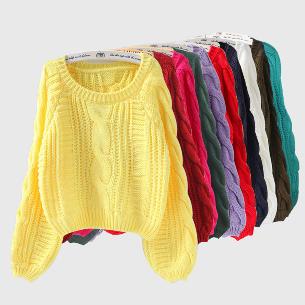 Women Knitted Sweater Women's Sweater Pullover And Jumpers Candy Color Harajuku Chic Short Sweater Twist Pull Jumpers