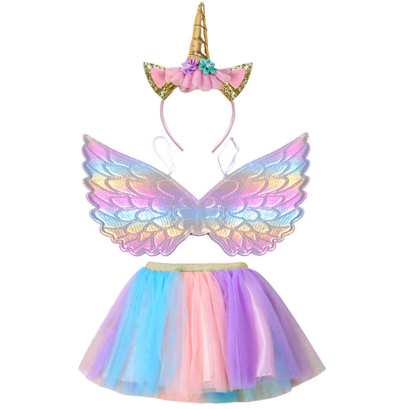 Children's theme party Unicorn wings girls color matching half-length skirt suit Halloween kids baby girls clothes 0-8 years