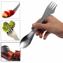 1 Pcs 3 in 1 Titanium Fork Spoon spork Cutlery Utensil Combo Kitchen Outdoor Picnic Stainless Steel Cutlery(China)