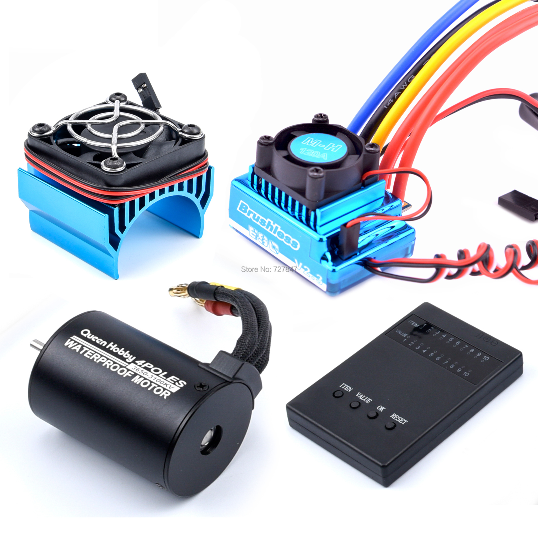 3650 3100KV / 3900KV / 4300KV /5200KV Brushless Motor & 45A 60A 80A 120A ESC With Program Car Combo For 1:10 RC Car RC Boat Part