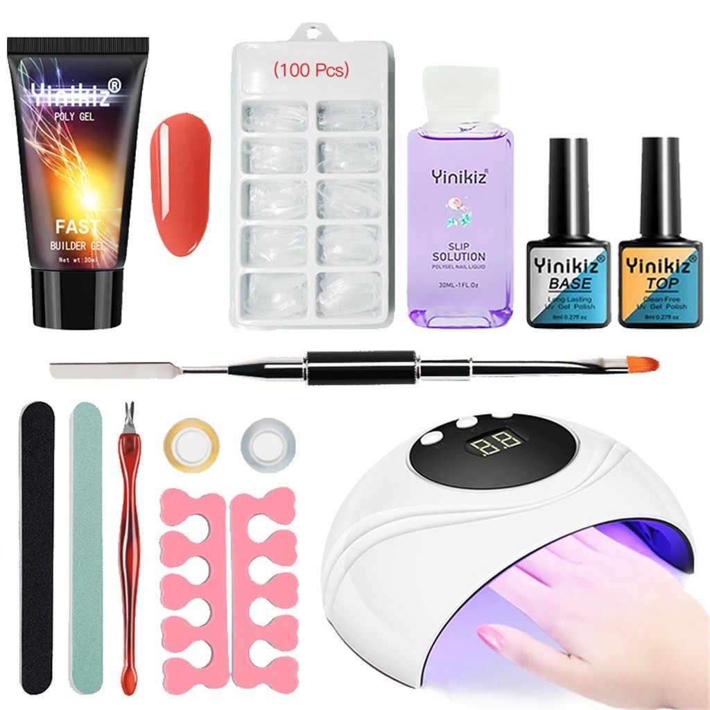 Yinikiz 24W UVโคมไฟเล็บFastขยายโพลีชุดเจลPrimer GEL TOP COAเล็บปลอม Накладные ногти ปลอมเล็บเคล็ดลับเล็บ
