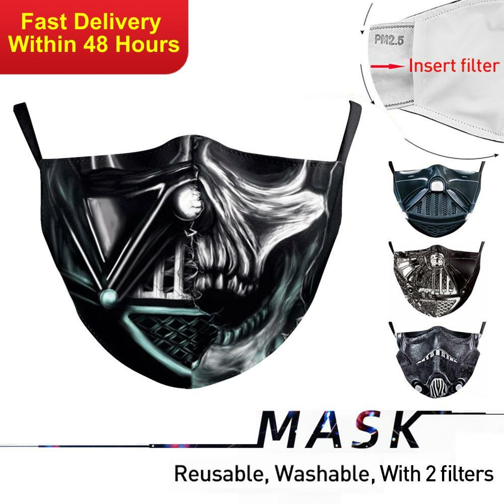 Zawaland Marvel Face Mask Reusable Men Mouth Mask Protective PM2.5 Mouth-Muffle Anti Bacteria Masks With 2 Filters