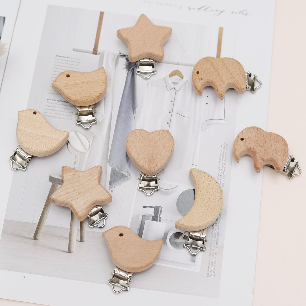 5Pcs/Set Kawaii Newborn Beech Wood Pacifier Clip Holder Elephant Baby Clasps Holders DIY Preferred Nipple Chain Accessories