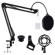 Hot Heavy Duty Microphone Boom Arm Stand, Adjustable Suspension Boom Scissor Mic Stand with Filter