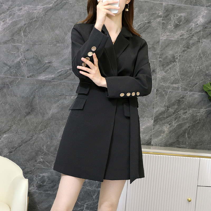 Black plus size women's M-5XL Female jacket 2020 new autumn and winter high quality loose mid-length ladies Blazer suit