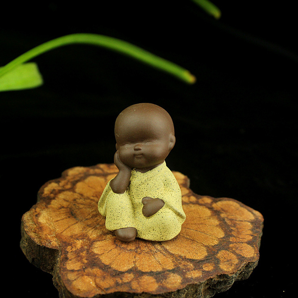 Cute Buddha Statue Monk Figurine Mandala Tea Pet Ceramic Crafts Ornaments #AR 2