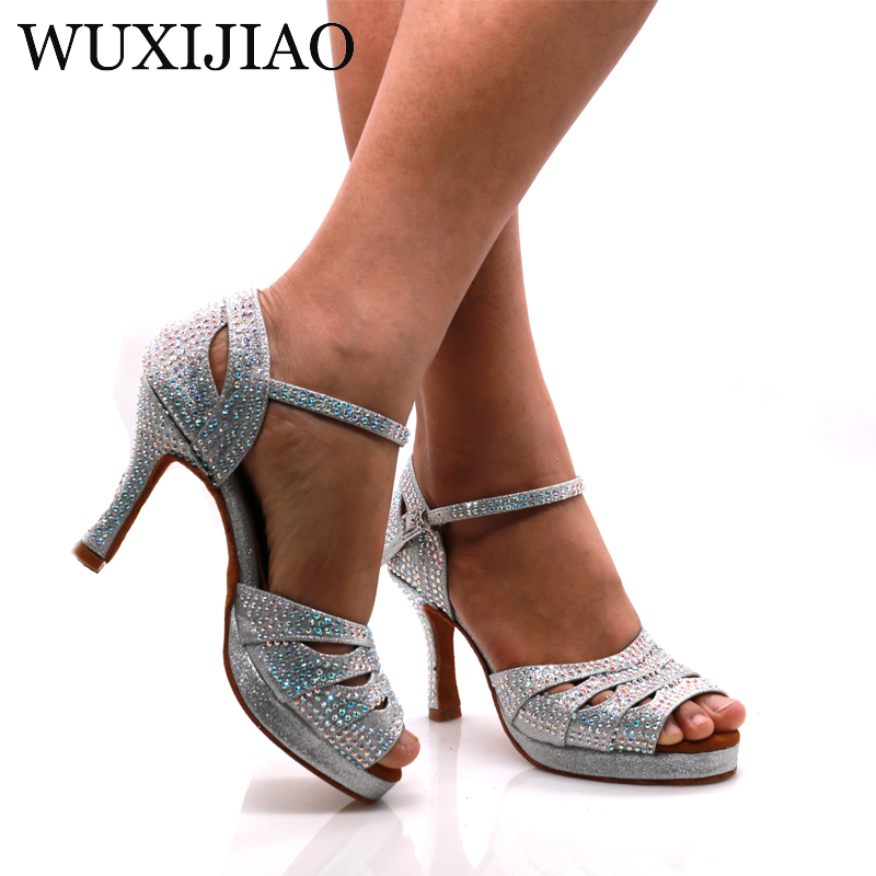 WUXIJIAO Jazz Shoes Latin Dance Shoes Women Latin Salsa Girls Casual Shoes Silver Rhinestone Shoes