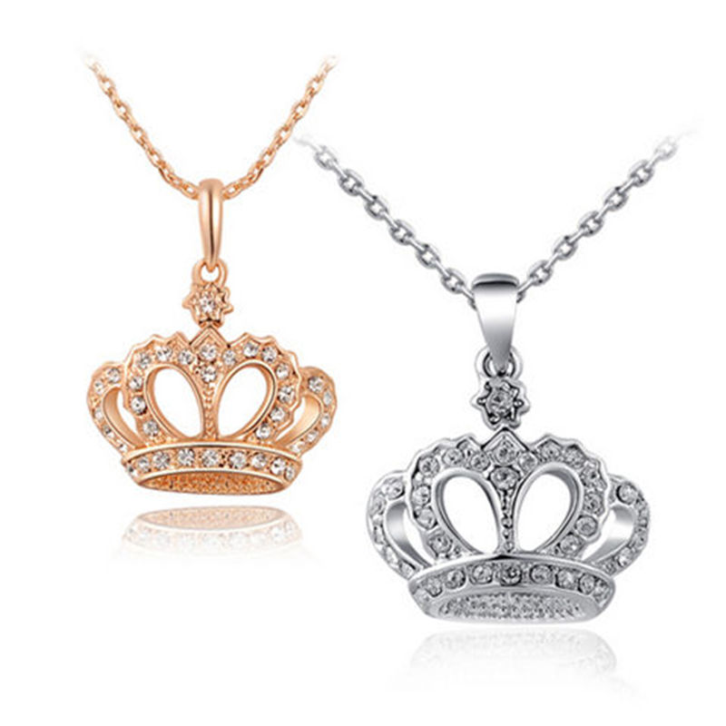 VOQ Fashion New Classic Full Crystal Crown Pendant Necklaces for Women Girls Princess Chain Necklace Jewelry Party Gifts