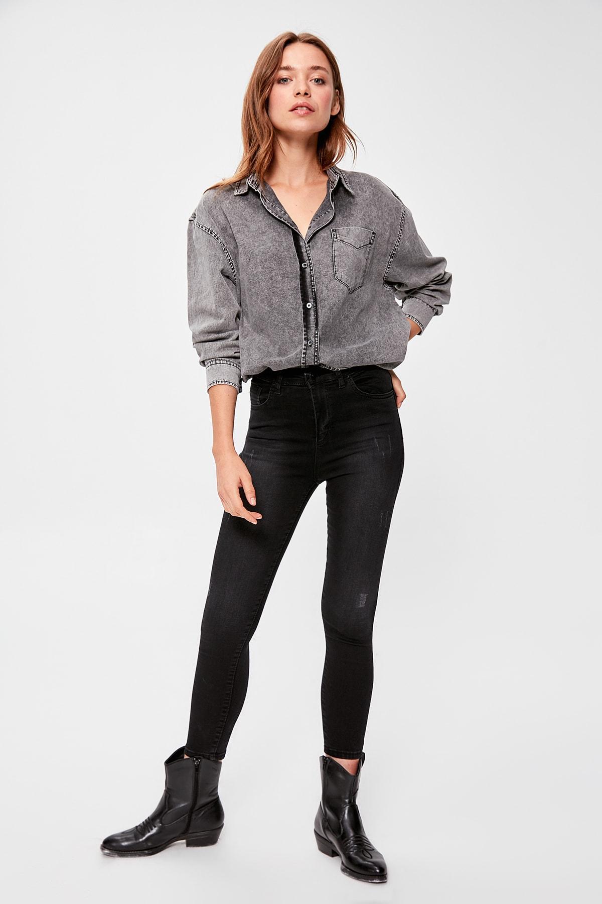 Trendyol Black Yıpratmalı Normal Waist Skinny Jeans TWOAW20JE0228