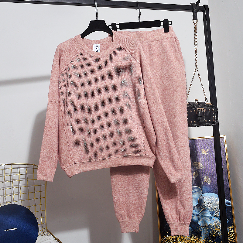 Fashion Hot Drill Black Pink Tracksuit Ladies 2pc Loose Knitted Sweater Long Pencil Pants Set Women Casual Sports Knitting Suit