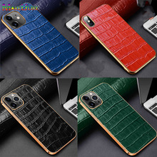 Croc Pattern Cow Leather Case For iPhone X XR XS Max 12 11 Pro MAX 12 Mini Case Luxury 12Mini 11Pro 12Pro Genuine Leather Cover