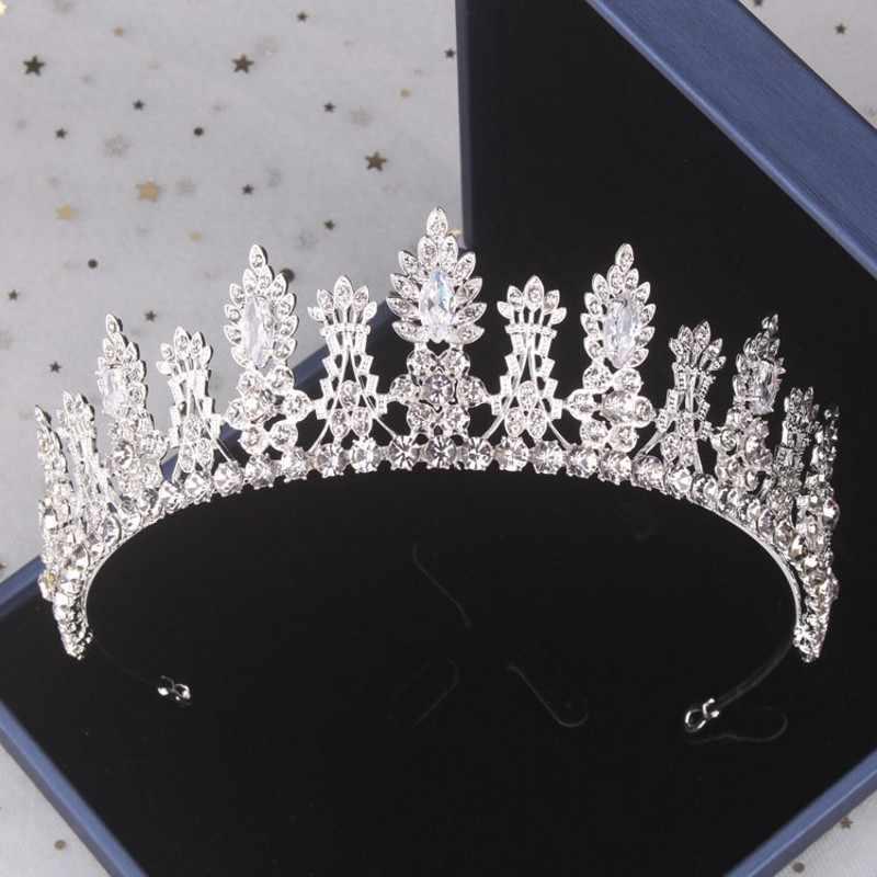 Barokke Luxe Bloemen Crystal Bridal Sieraden Sets Rhinestone Tiara Kroon Ketting Oorbellen Set Bruiloft Afrikaanse Kralen Sieraden Set