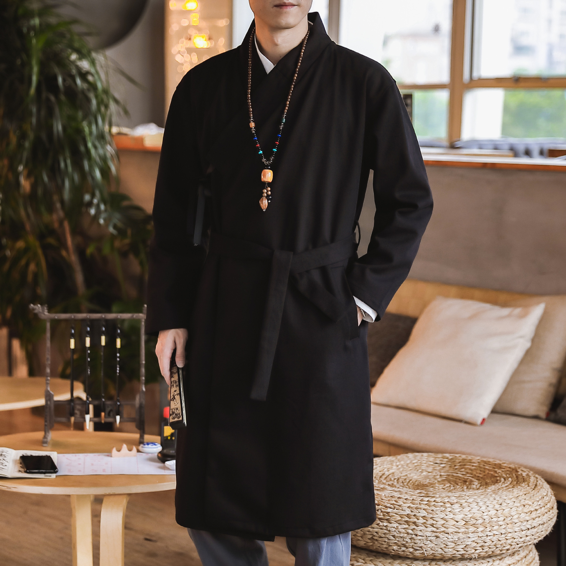 #3945 China Style Vintage Black Cotton Linen Trench Coat For Men Embroidery Loose Long Kimono Windbreak With Belt Plus Size 5XL