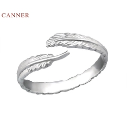 CANNER Platinum Feather Opening Ring 925 Sterling Silver Anillos  Gold Rings For Women Luxury Fine Jewelry Wedding Rings Bague