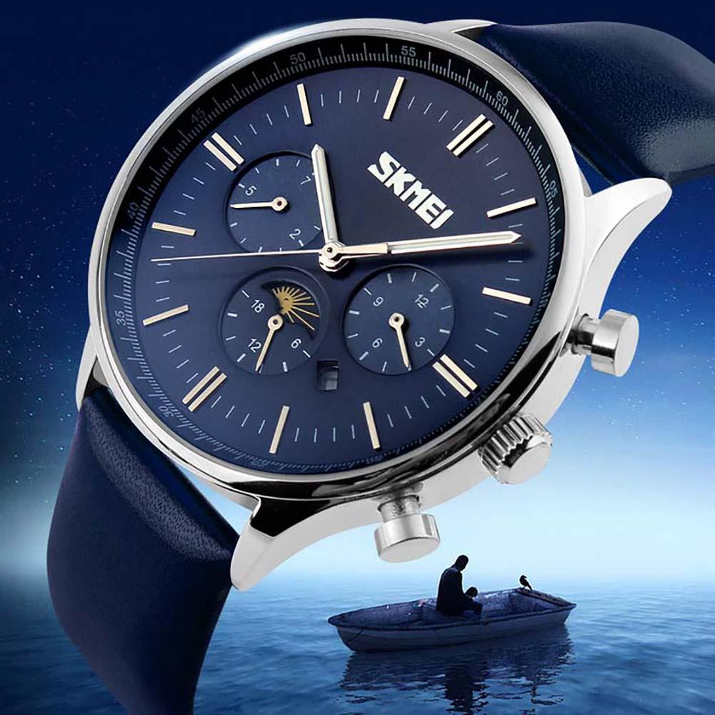 SKMEI 9117 Faux Leather Band Moon Phase Display Waterproof Business Men Quartz Watch