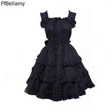 Black Gothic Lolita Dress / Women's Dress Cosplay Punk Lolita Dress Satin Sleeveless Knee Length