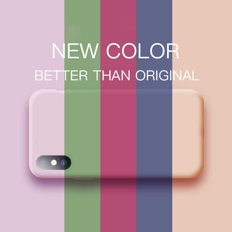 Tipis Lembut Kasus Silikon Cair untuk iPhone 11 Pro X XR X Max Asli Warna PENUTUP UNTUK iPhone 12 MIni 5 5S 6 6S 7 7 Plus Kembali Shell