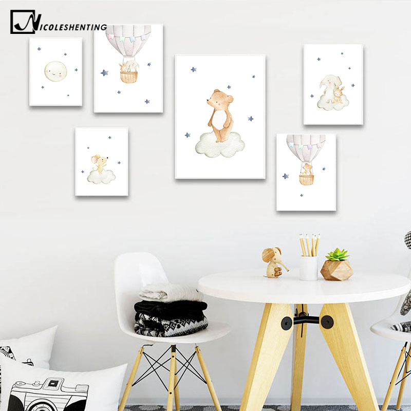 Watercolor Forest Animal Child Poster Baby Nursery Wall Art Print Simple Canvas Painting Nordic Kid Bedroom Decoration Picture