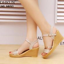 2020 Summer Gold Women Sandals Fashion High Heels Bling Buckle Gladiato