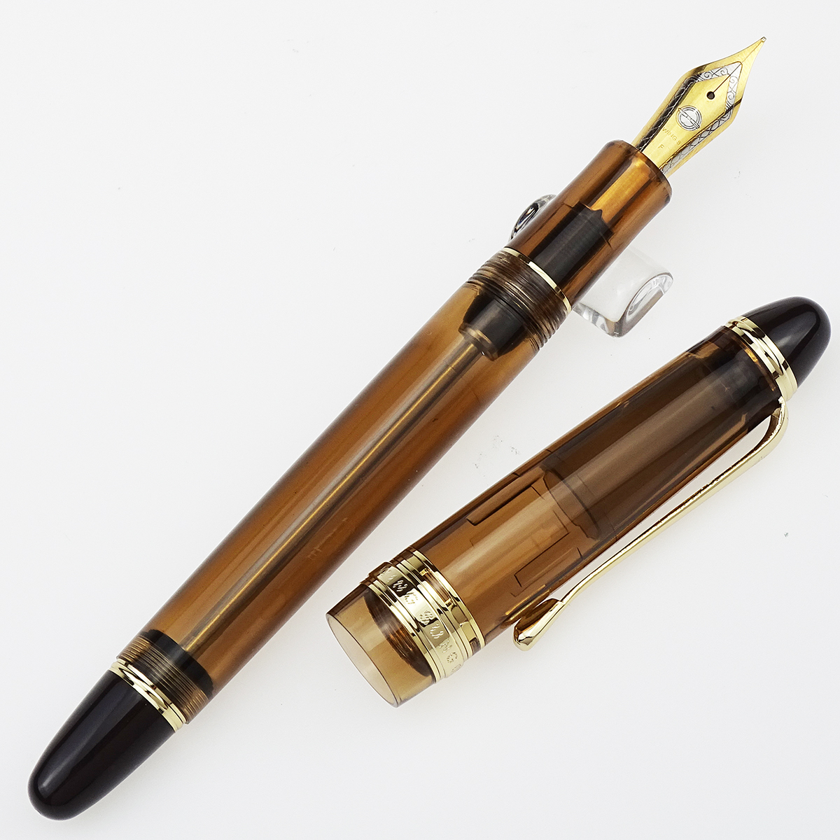 Wing Sung 699 Vacuum Filling Fountain Pen Wingsung Transparent Brown Acrylic With Box - EF/ Fine / Medium / Bent Nib Office Gift