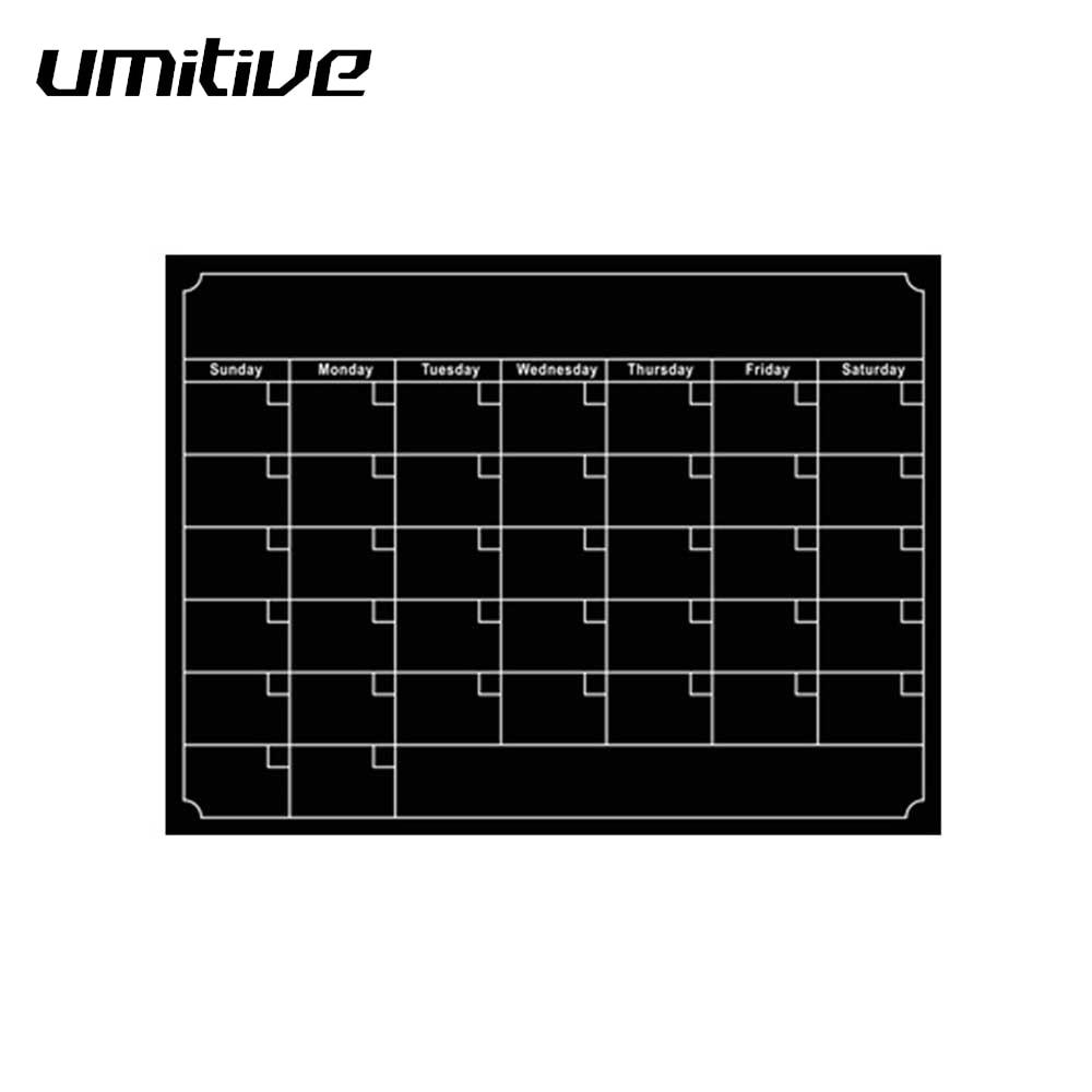 Umitive 1pcs Magnetic Dry Erase Fridge Calendar White Black Board Memo List To Do List Monthly Daily Planner Organizer 2019