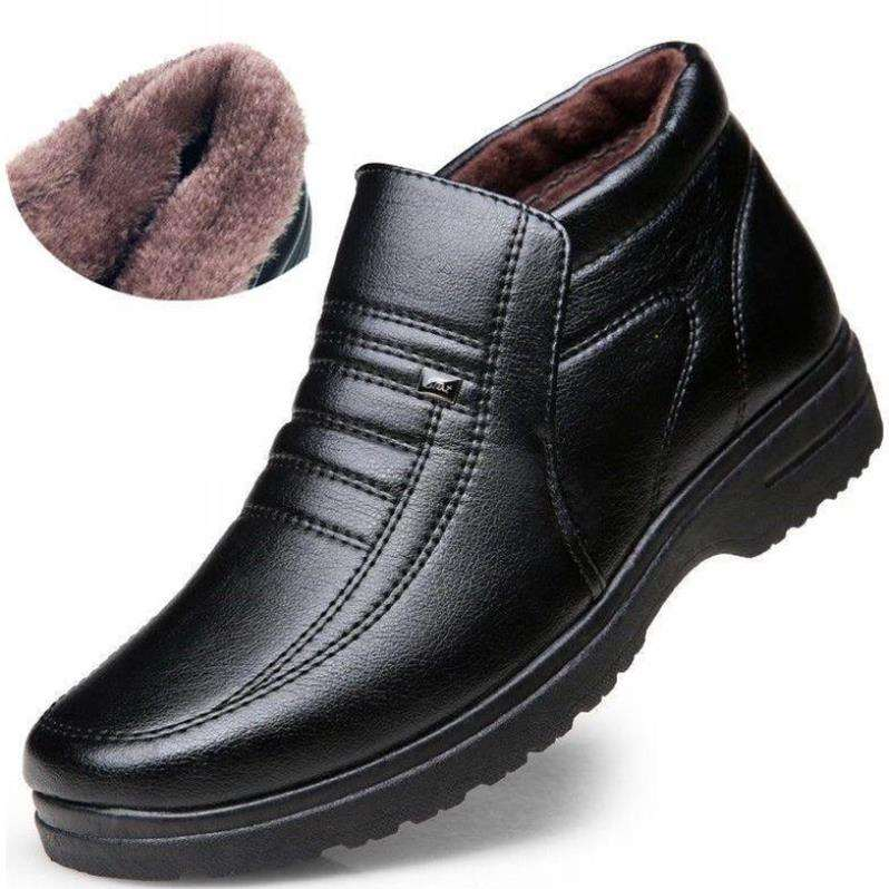 Winter Waterproof Men's Casual Leather Shoes Flannel High Top Slip-on Male Casual Shoes Rubber Warm Winter Shoes For Mens