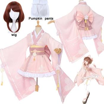 Mi héroe Academia Uraraka Ochako adorable disfraz para cosplay Rosa kimono uniforme poco héroe Anime ropa trajes porque y peluca