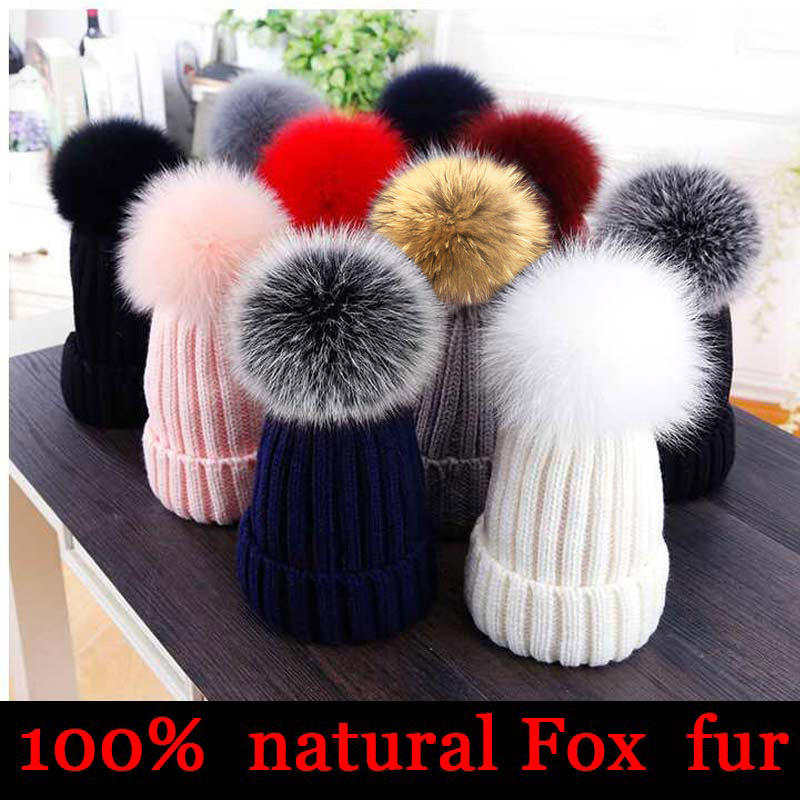 2019 New winter hat luxury quality Fox fur pompom hats   beanie   High quality Girls women bonnet winter hats for women