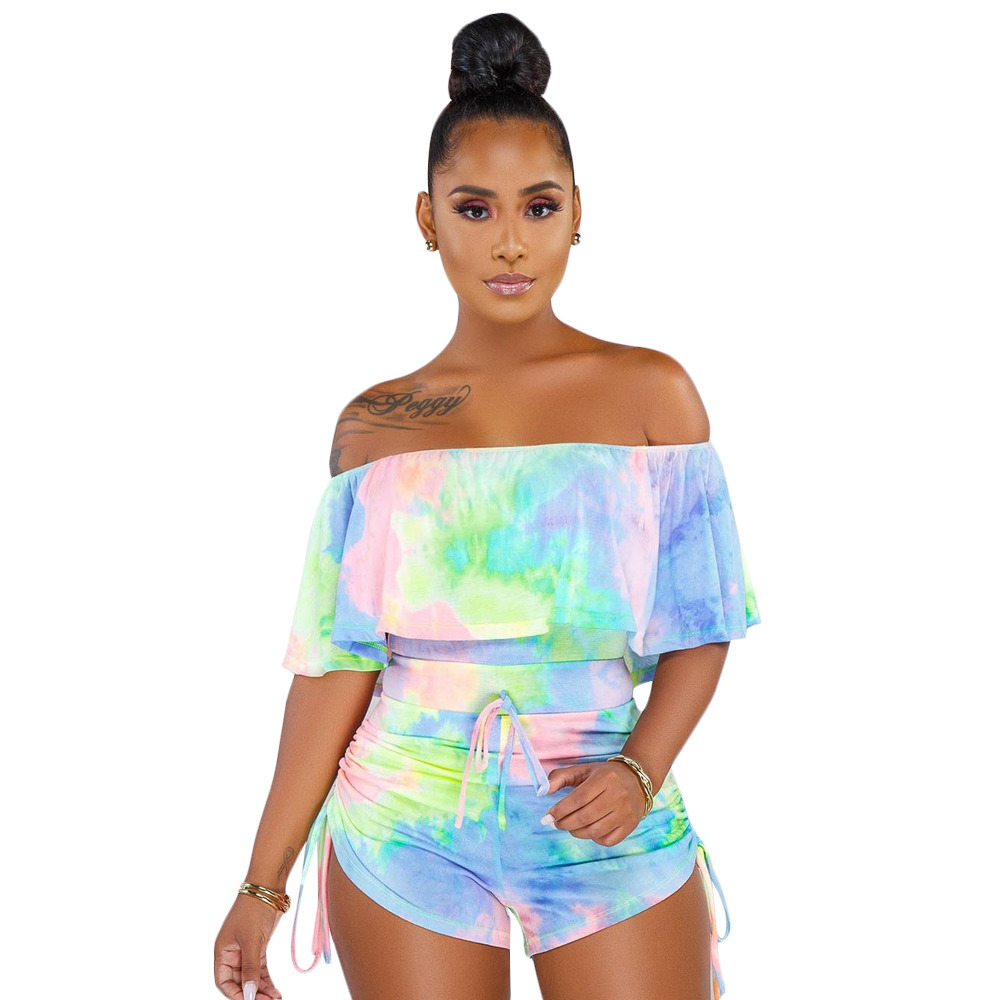 Sexy Tie Dye Print Playsuit Slash Neck Woman Casual Ruffle Jumpsuit Off Shoulder Bodycon Overall Bandage Party Bodysuit Outfit