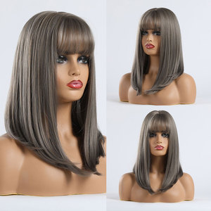 Image 5 - TINY LANA Long Wave Women Wigs with Bangs Ombre Brown Blonde High Temperature Fiber Synthetic Wigs for Black White Women Cosplay