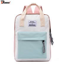 Teen School Bags for Girls Teenage Patchwork Canvas Backpack School Women Casual Preppy Style Lightweight Student Bookbags casual vintage canvas backpack for women unique drawstring flap bags preppy style rucksacks for girls black button school bags
