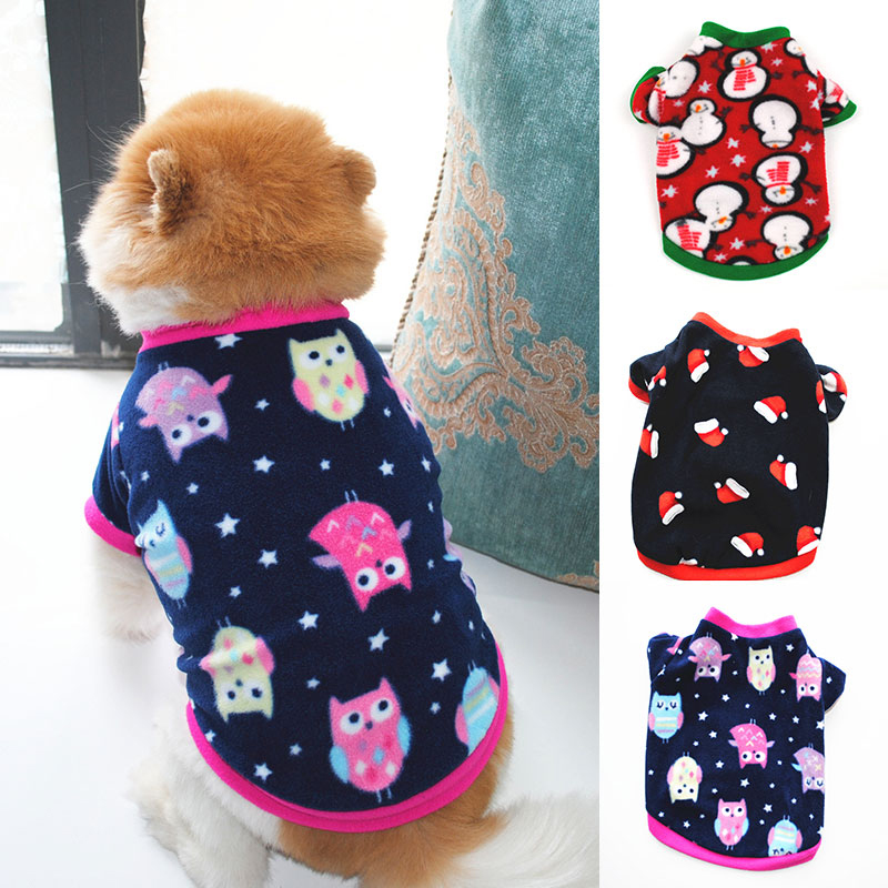 Cute Pet Dog Pullover Small Dog Fleece Skin-friendly Clothes Christmas Style Classic Pattern Autumn Winter Dog Short Sleeve